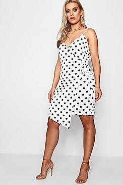 Plus Lizzy Spotty Wrap Dress