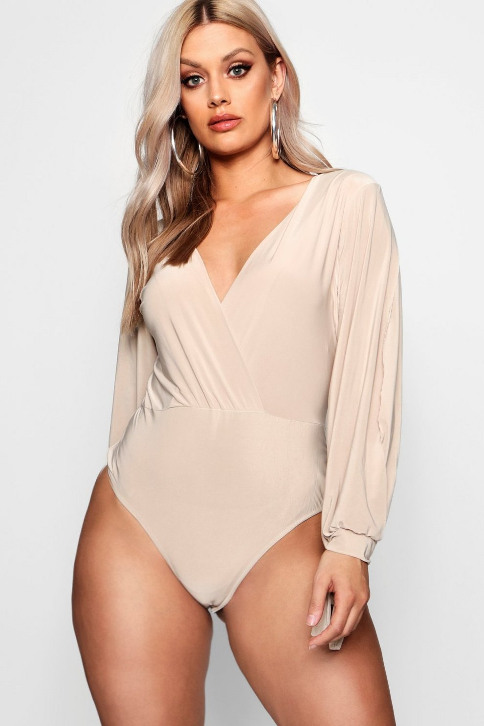 Outlet Professional 2018 For Sale Boohoo Plus Slinky Plunge Open Sleeve Bodysuit Sale Low Shipping Clearance HjUtKFbY65
