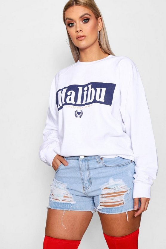Plus Olivia Malibu Slogan Sweat Top by Boohoo