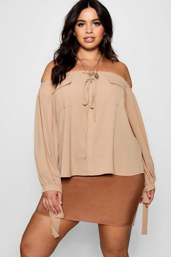 Plus Utility Pocket Off Shoulder Top