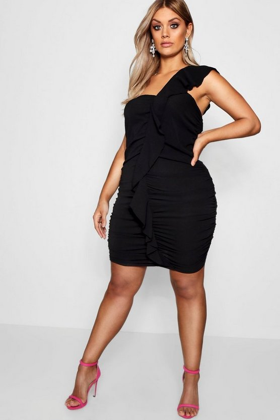 Plus Katy Ruffle Front Ruched Bodycon Dress