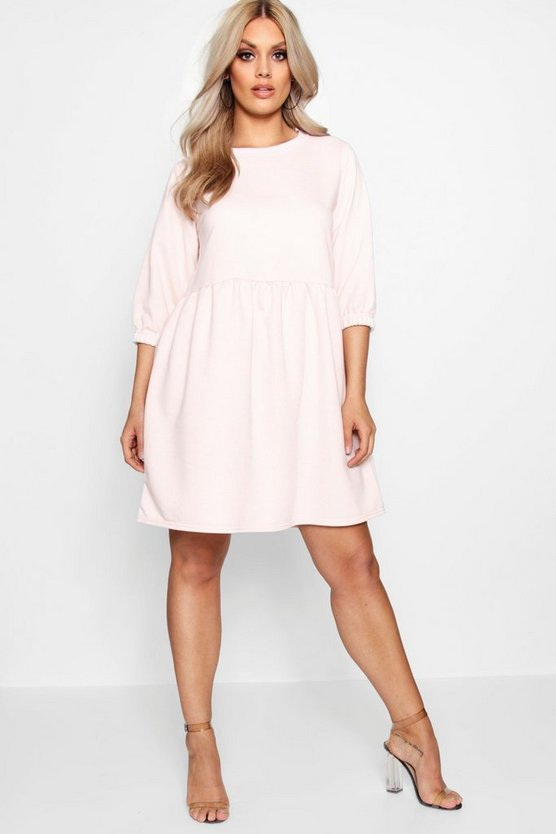 Plus Loop Back Sweat Smock Dress