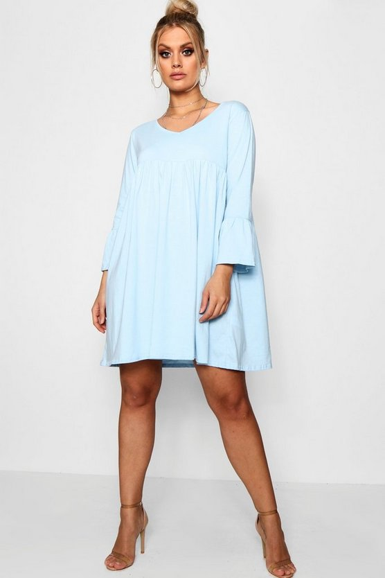 Plus Rosie V Neck Smock Dress
