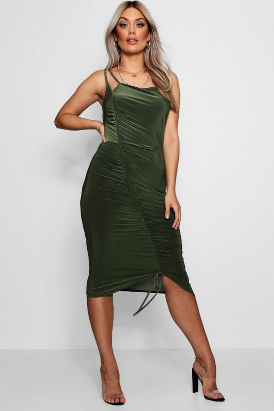 Plus Triple Strap Ruched Midi Dress