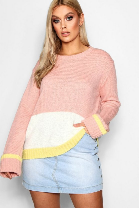 Plus Sandy Colour Block Knitted Jumper