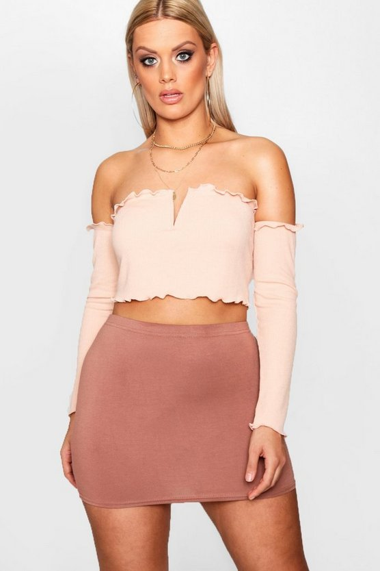 Plus Isla V Bar Ribbed Crop Top