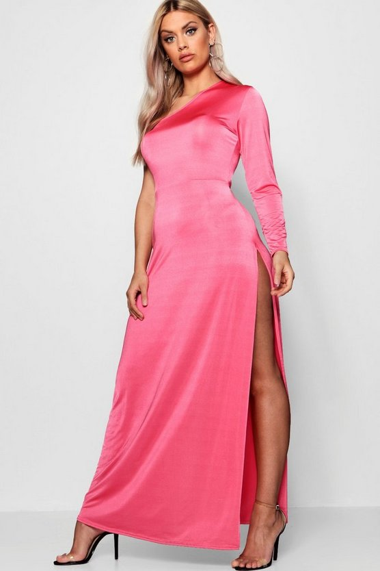 Plus Lucia One Shoulder Hip Split Maxi Dress