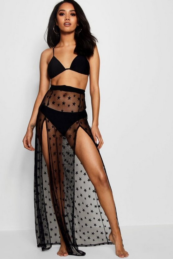 Petite Naomi Star Print Thigh Split Mesh Beach Maxi by Boohoo