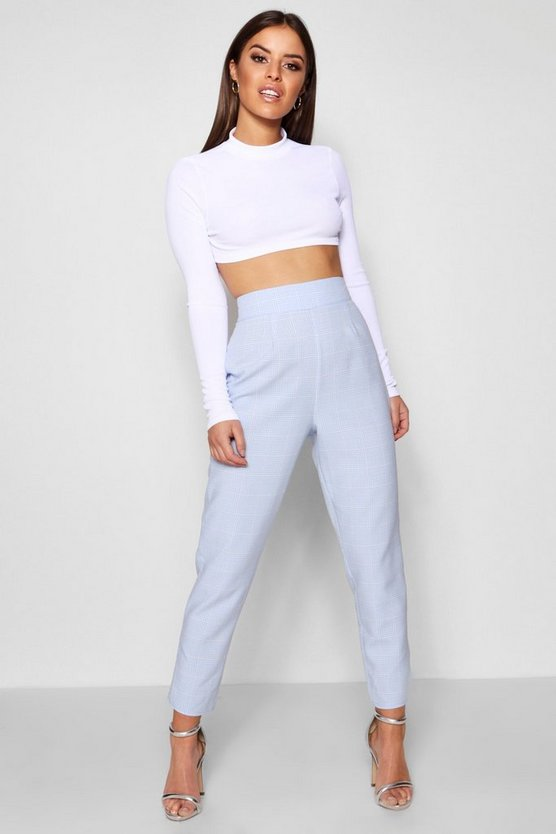 Petite Pastel Check High Waisted Woven Trousers