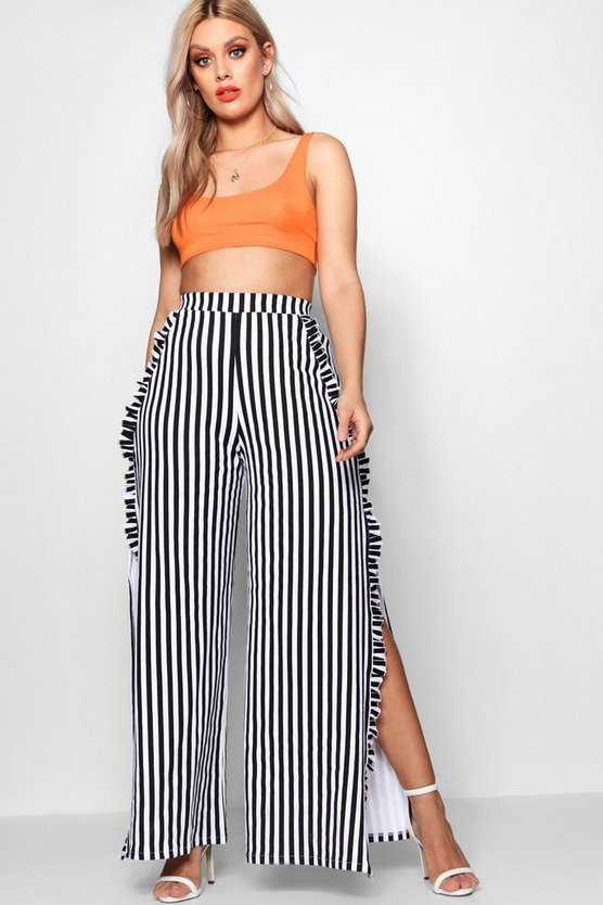Plus Louisa Stripe Ruffle Pant With Side Split