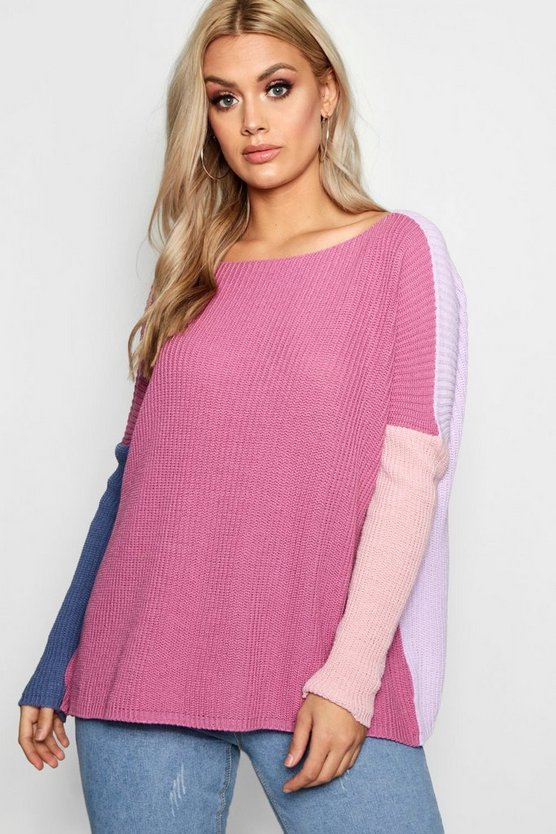 Plus Katie Batwing Colour Block Jumper