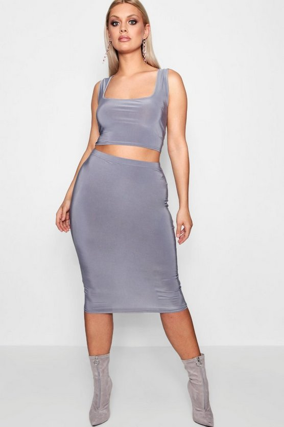Plus Tamsin Bra Top + Slinky Midi Skirt