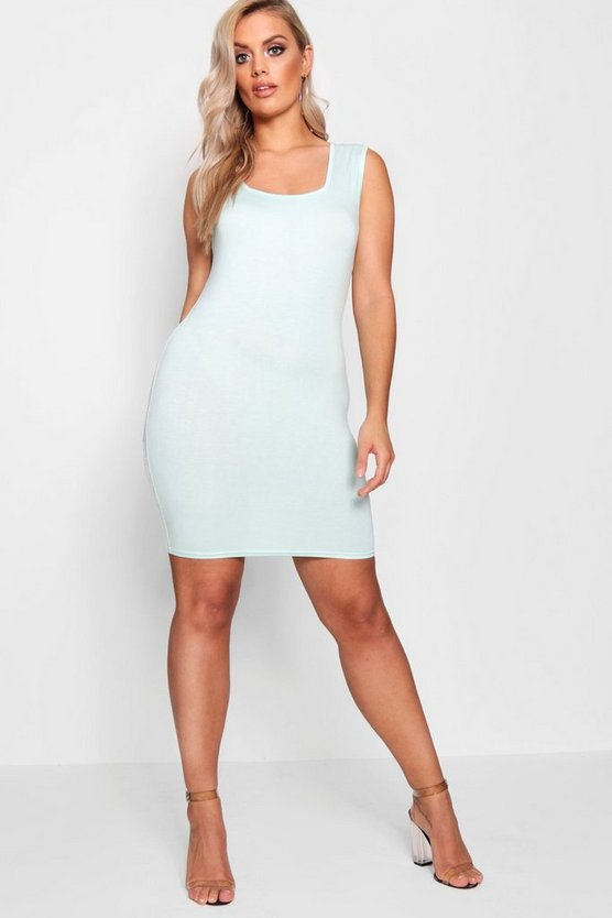 Plus Erin Square Neck Jersey Mini Dress