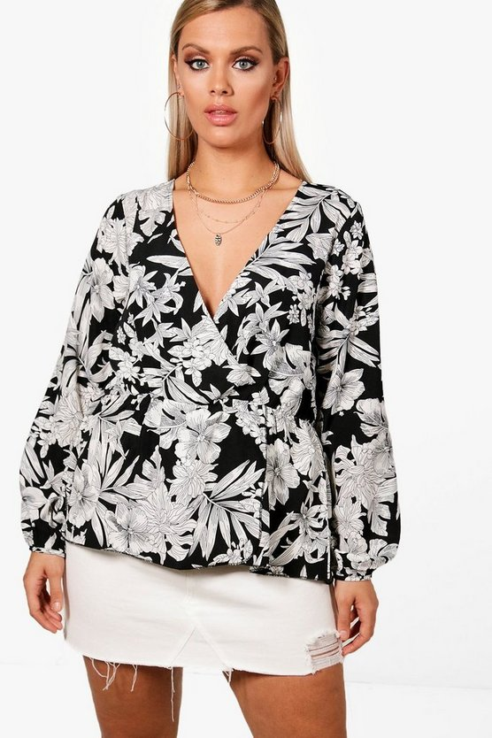 Plus Safari Print Wrap Top