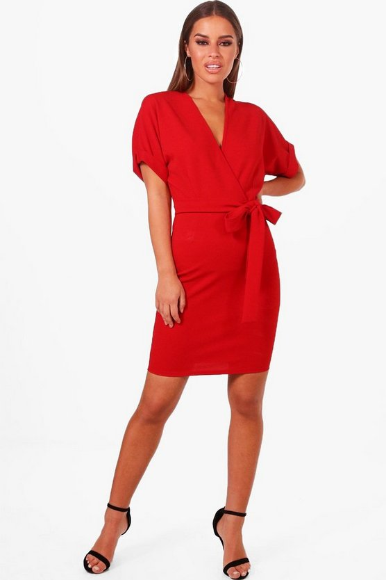 Petite Wrap Belted Dress