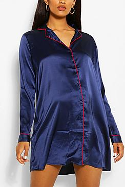 Camicia da notte premaman con bottoni in raso