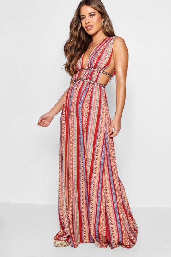 Petite Vicky Plunge Ribbon Trim Maxi Dress by Boohoo