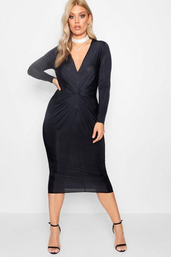 Plus Ivy Slinky Knot Front Midi Dress