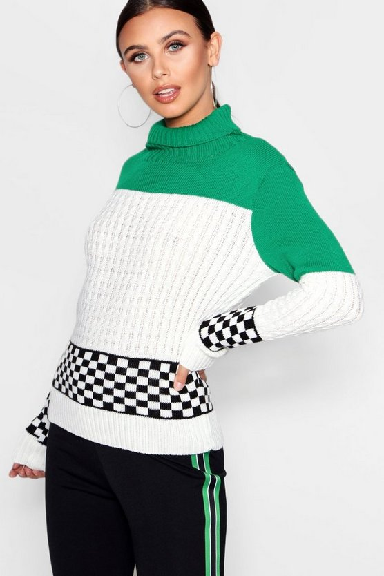 Petite Moto Check Turtle Neck Jumper