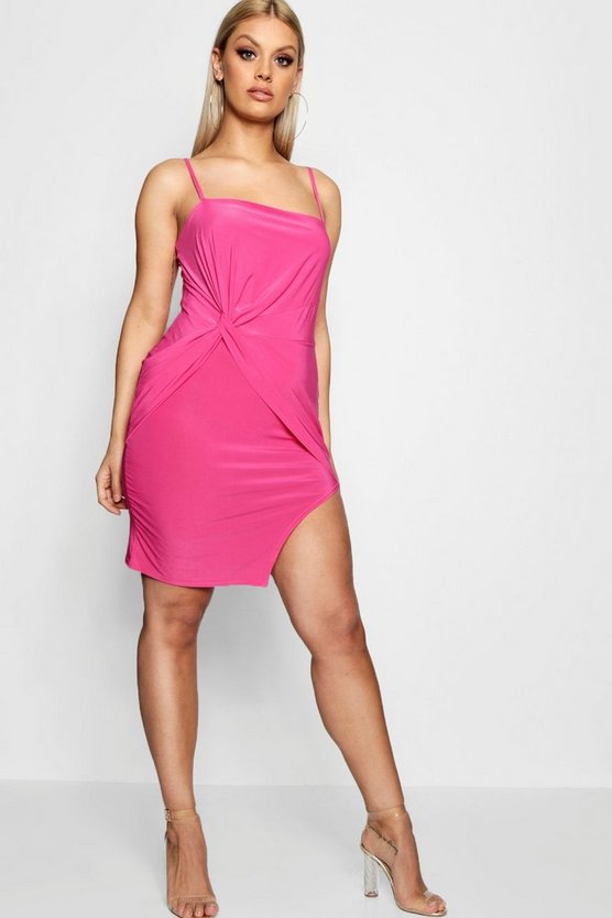 Plus Molly Tie Front Strappy Bodycon Dress
