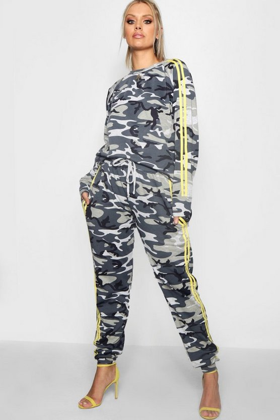 Plus Tina Camo Sports Stripe Jogger Set