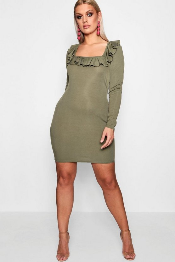 Plus Square Neck Ruffle Bodycon Dress
