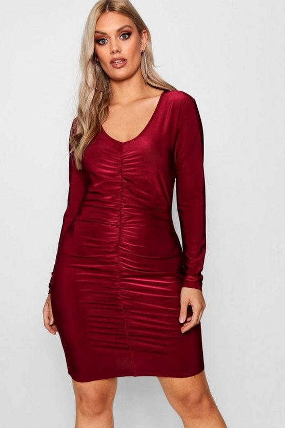 Plus Slinky Ruched Front Bodycon Dress