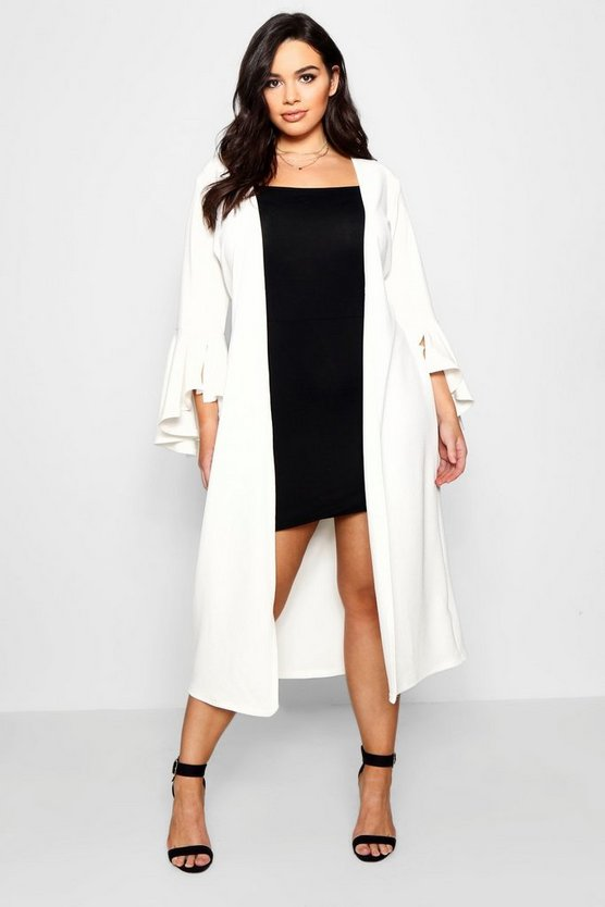 Plus Crepe Ruffle Sleeve Duster