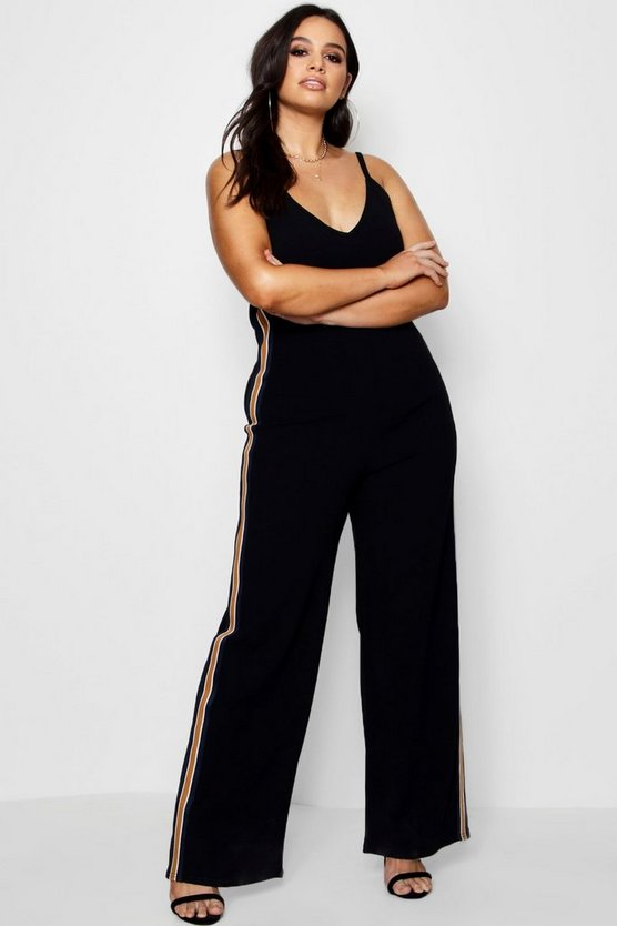 Plus Paige Crepe Strappy Sports Stripe Jumpsuit