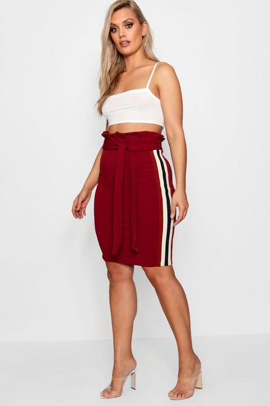 Plus Shannon Paper Bag Stripe Skirt