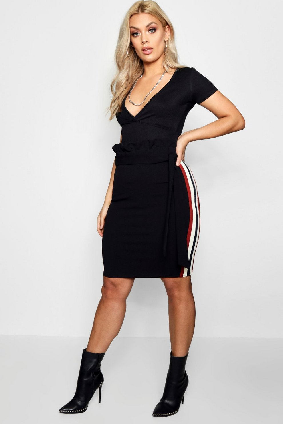 Cost Cheap Online Purchase Cheap Online Boohoo Plus Shannon Paper Bag Stripe Skirt QxNScOH