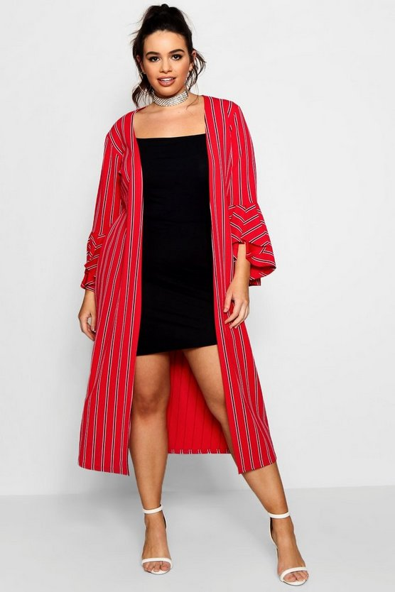 Plus Lucie Stripe Frill Sleeve Long Line Duster