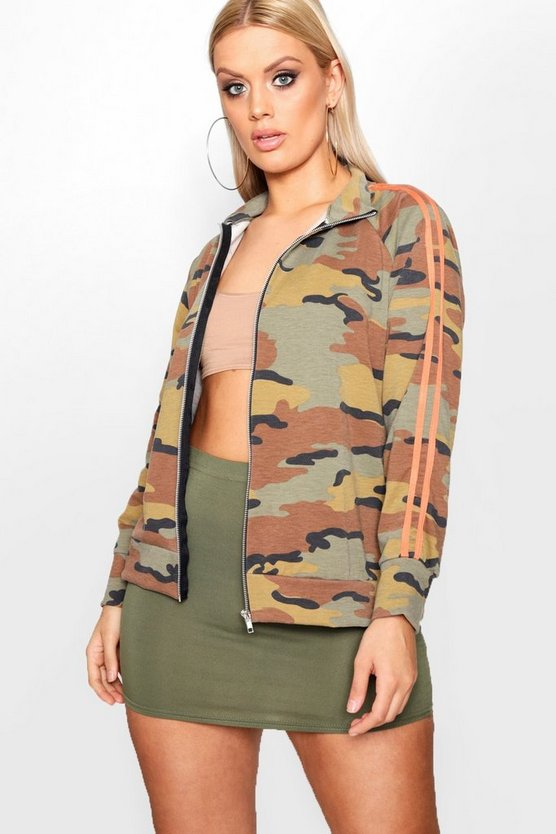 Plus Jas Camo Sport Stripe Funnel Neck Zip Hoody