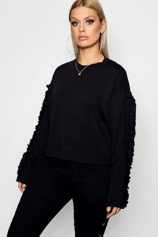 Plus Tamsin Frill Sleeve Sweat Top