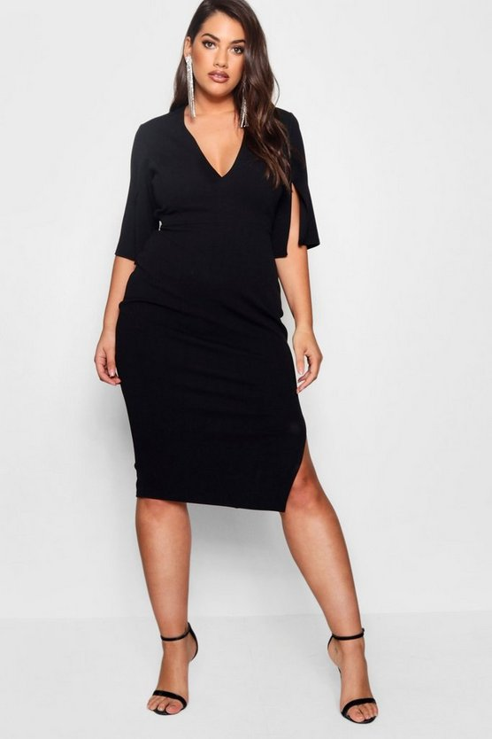 Plus Split Sleeve Tie Waist Midi Dress