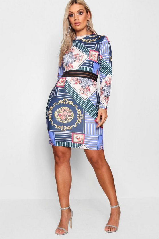 Plus Joslyn Scuba Printed Mesh Bodycon Dress