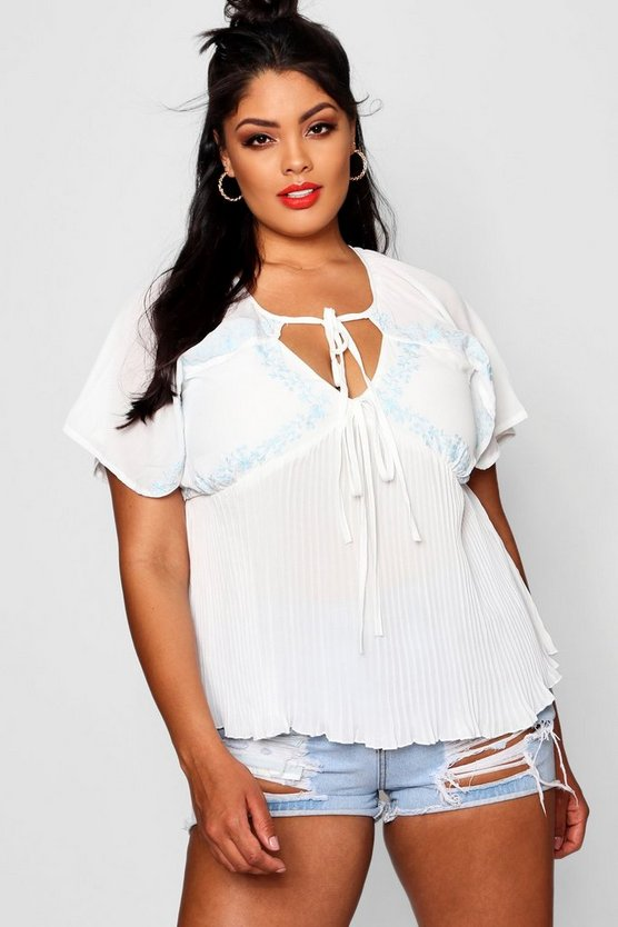 Plus Embroidered Top