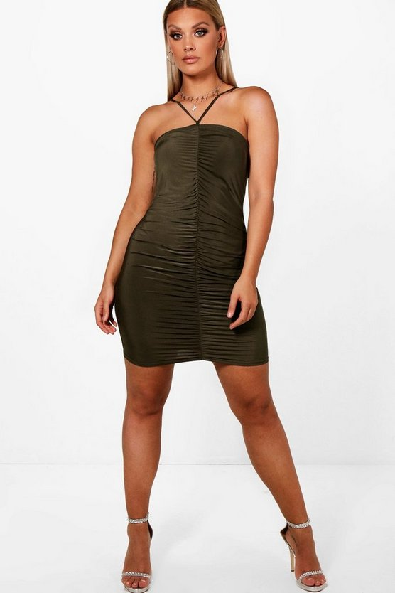 Plus Amber Slinky Ruched Detail Bodycon Dress