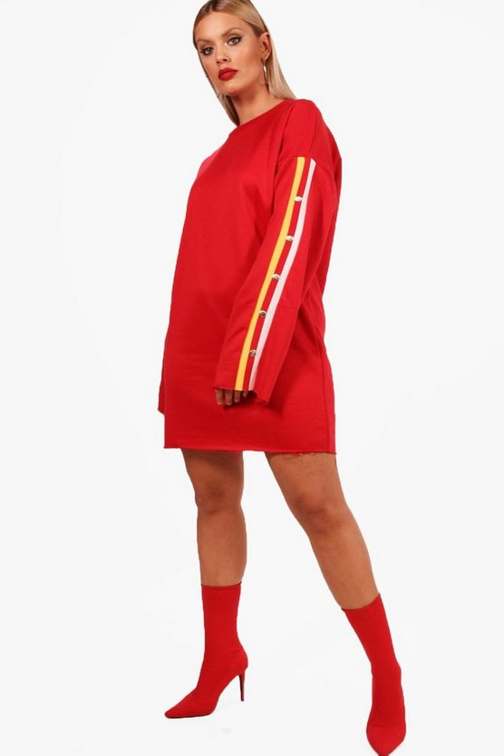 Plus Cesca Popper Sleeve Sweat Dress
