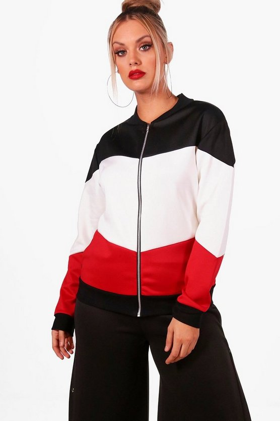 Plus Hollie Colour Block Bomber Jacket