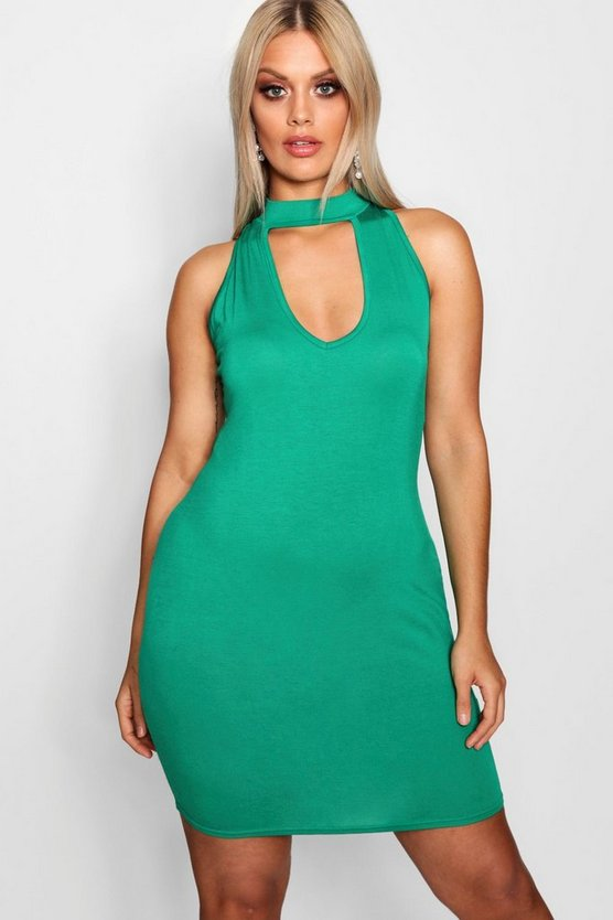 Plus Choker Neck Bodycon Dress