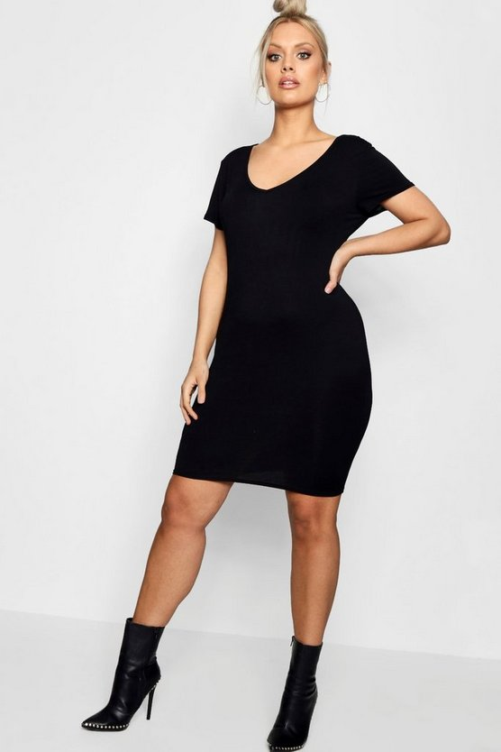 Plus Kirsten Plunge Neck Bodycon Dress