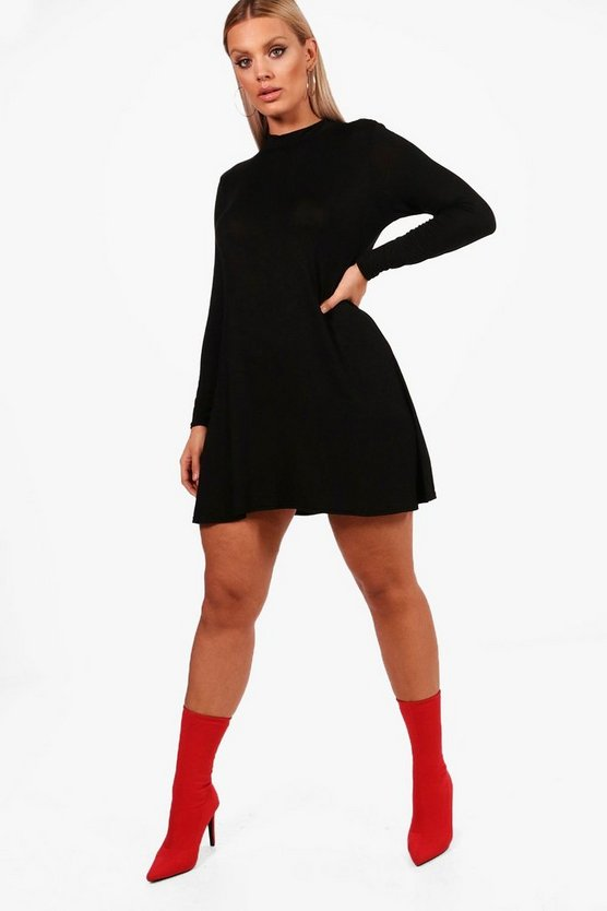 Plus Louise High Neck Long Sleeve Swing Dress