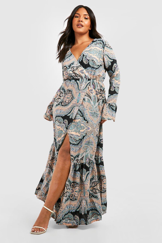 Купить Dresses, Плюс сайз Макси-платье с узором <павлиний глаз>, boohoo