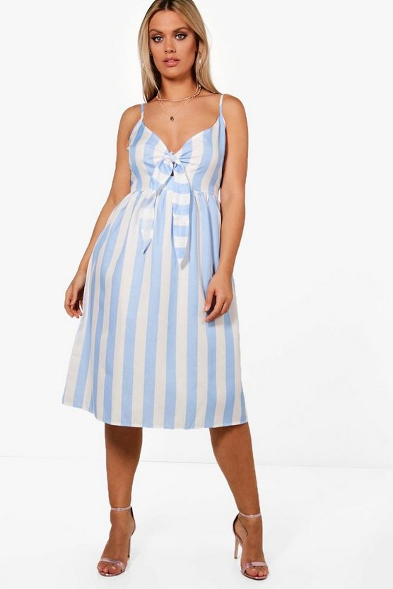 Plus Bow Front Striped Skater Dress