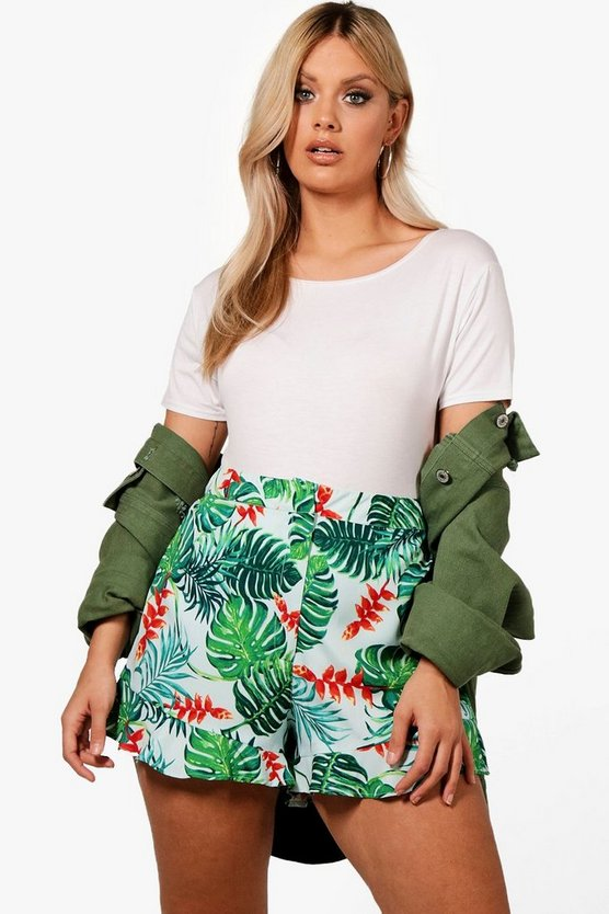 Plus Palm Print Shorts