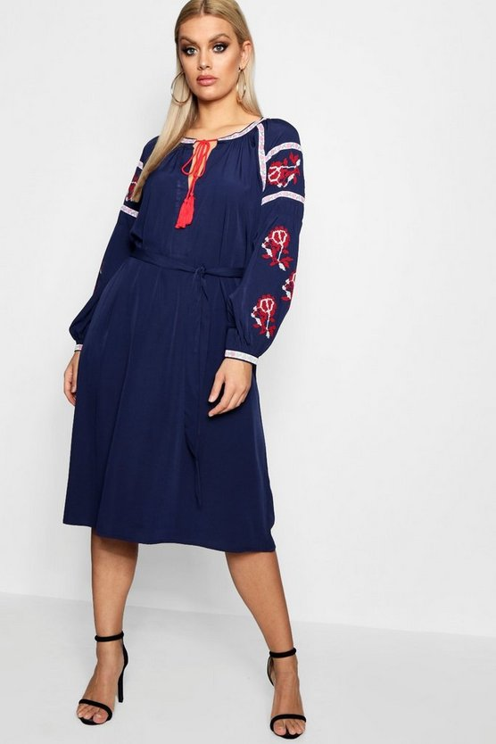 Plus Eliza Embroidered Mid Dress