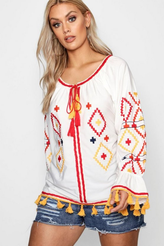 Plus Embroidered Smock Top