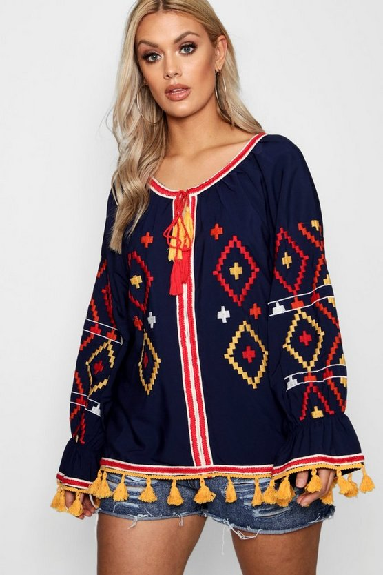 Plus Leah Embroidered Smock Top