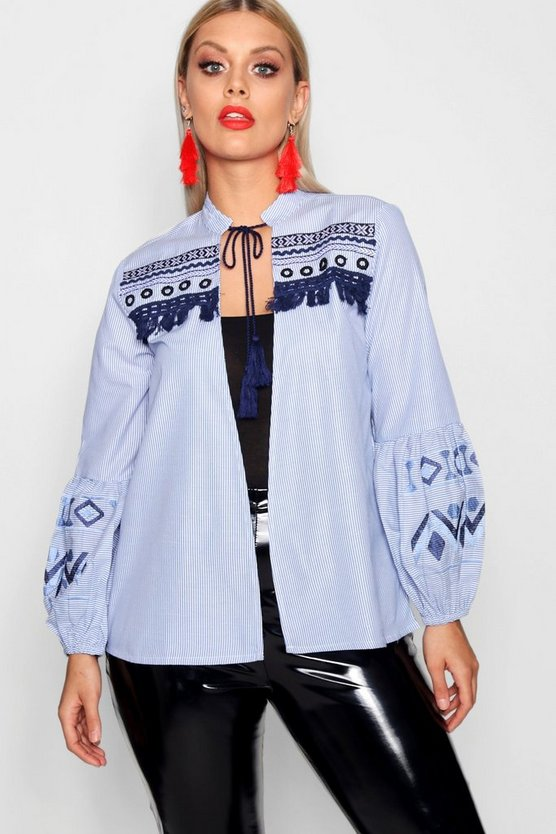 Plus Harriet Striped Embroidered Jacket